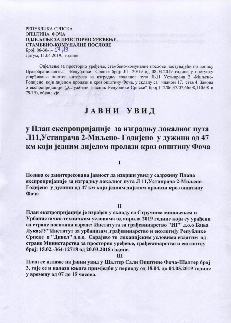 Javni uvid u Plan eksproprijacije za put Ustiprača 2 – Miljeno – Godijeno